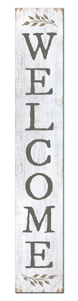 Welcome with Sprig Wooden Porch Sign