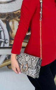 Faux Snakeskin Purse Black and white
