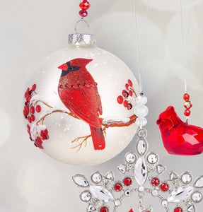 Cardinal Ball Ornament with Berries