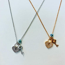 Load image into Gallery viewer, You have the Key to my heart Necklace in Sterling Silver or Rose Gold Plated Silver
