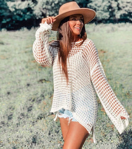 White Open Weave Spring Sweater