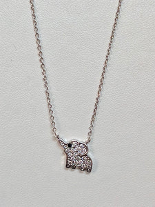 Crystal Elephant Necklace in silver or rose gold