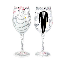 Load image into Gallery viewer, Bride and Groom Wedding Glass Set of 2- Lolita