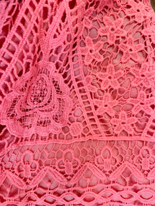 Crocheted Lace Tank Top in Coral Pink or Beach Glass