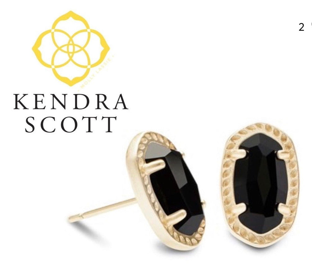 Kendra Scott Black Onyx Earrings with gold