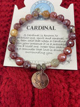 Load image into Gallery viewer, T. Jazelle Cardinal Charm on Genuine Stone Bracelet