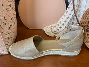 Guess Blush/ Gold Sparkle Espadrille size 7 only