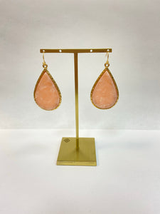 Blush Teardrop Gold Earrings