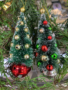 Bottle Brush Tree Ornament with Bell