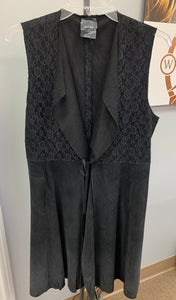 Suede and Lace Vest in Black