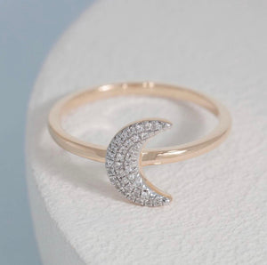 Silver Ella Stein Moon Ring sterling silver with Diamonds