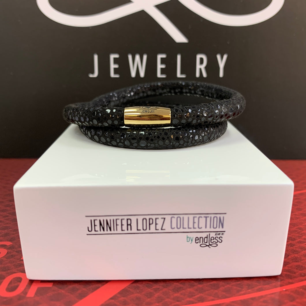 Jennifer Lopez Black Leather Double Wrap Bracelet