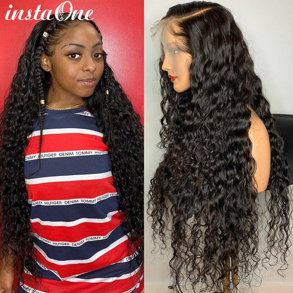 Deep Wave Glueless Lace Front Human Hair Wigs With Baby Hair 13x4 Remy Malaysian Curly Human Hair Wig 150% Water Wave Wigs
