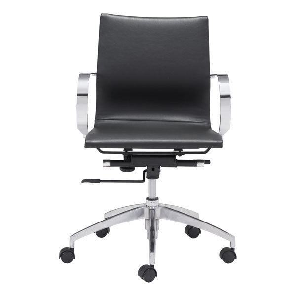 Glider Low Back Office Chair With Armrests, Multiple Colors