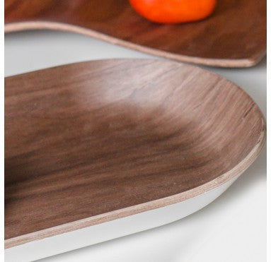 Wood Tray with White Bottom