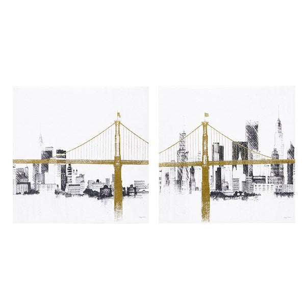 Brooklyn Bridge Gold Foil Canvas