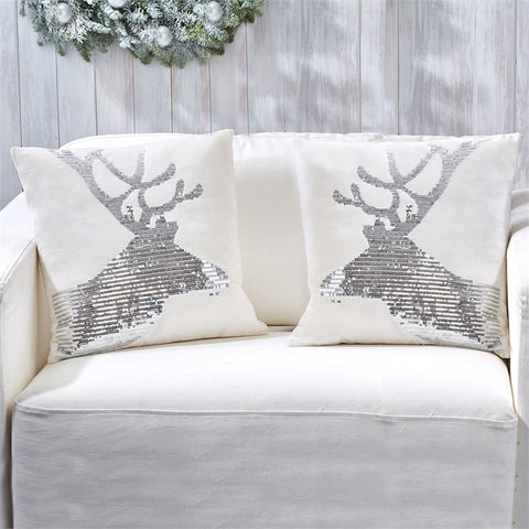 Sequin Reindeer Pillow