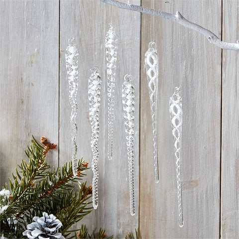 Glass Icicle Ornament - Set of 6