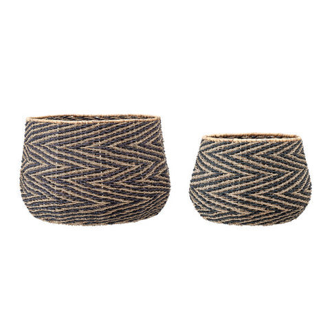 Handwoven Black & Natural Chevron Baskets Set of 2