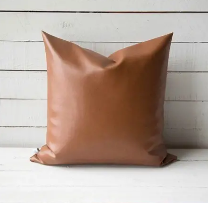 Faux Leather Pillow with Fill