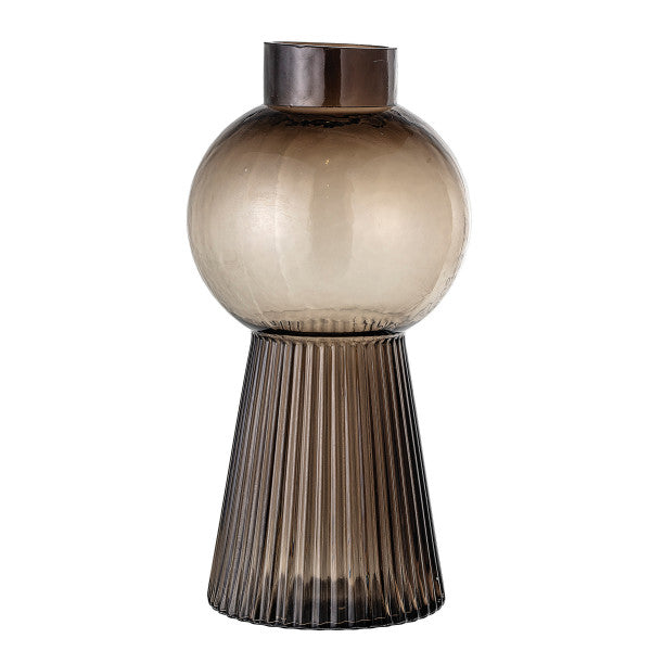 Round Glass Vase with Fluted Pedestal Base