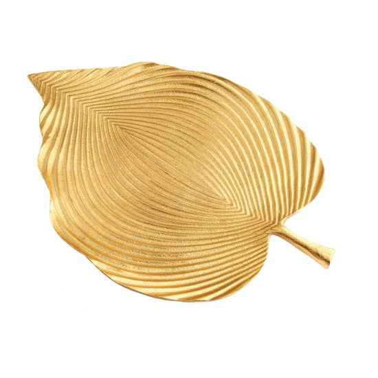 Gold Leaf Shaped Tray with Vein Design