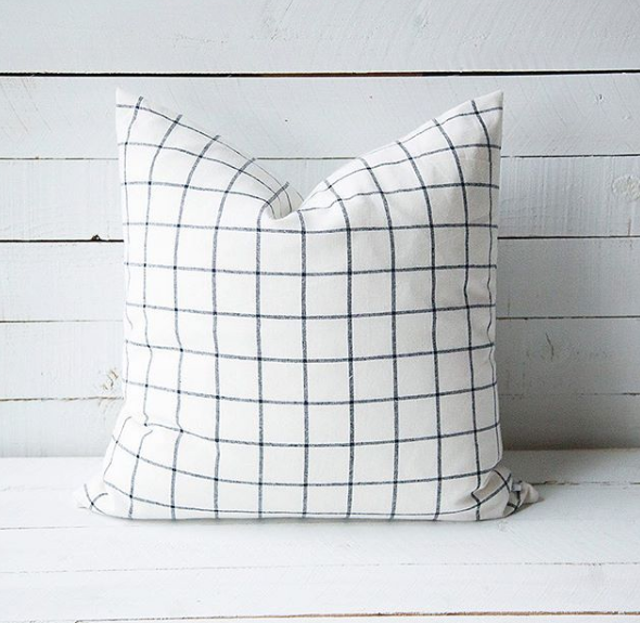 Ivory and Black Grid Pillow with Fill