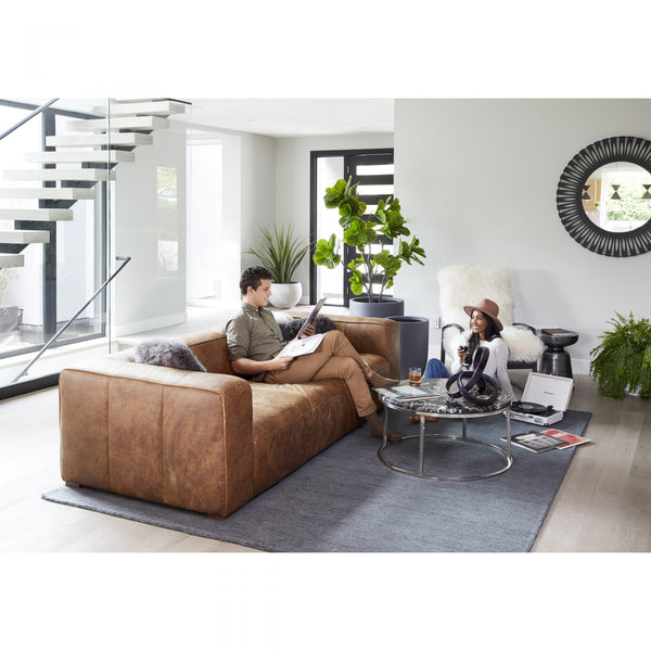 The Bolton Top-Grain Leather Sofa In Living Room
