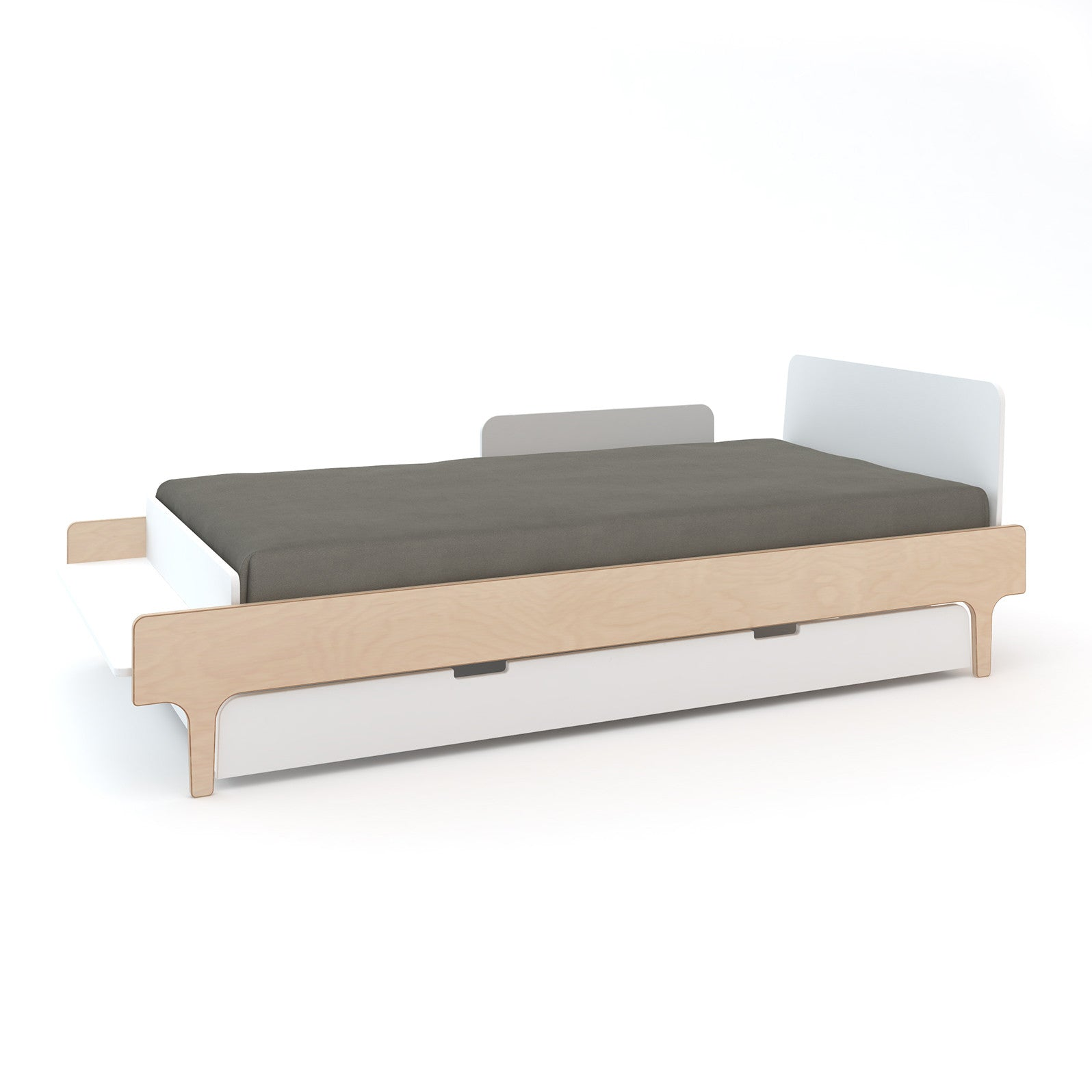 White/Birch with Trundle and Security Rail