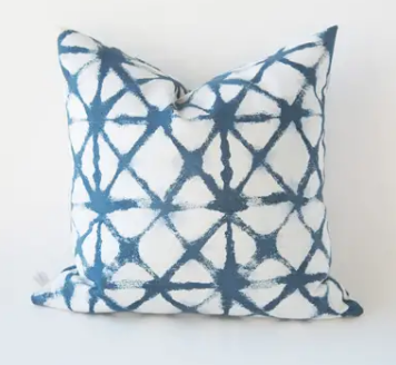 Shibori Denim Pillow with Fill