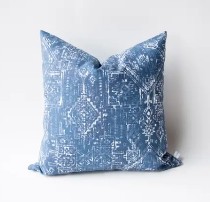 Tribal Navy and White Pillow with Fill