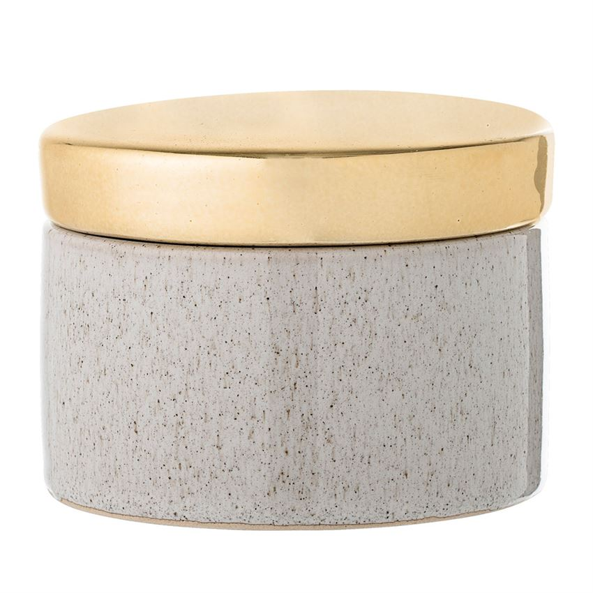 Stoneware Box with Gold Lid