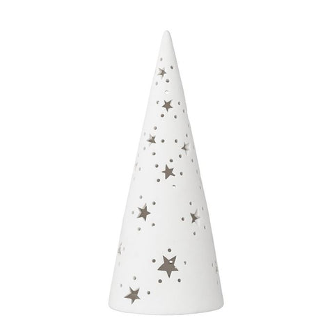 Porcelain Christmas Tree w/Cut Out Stars