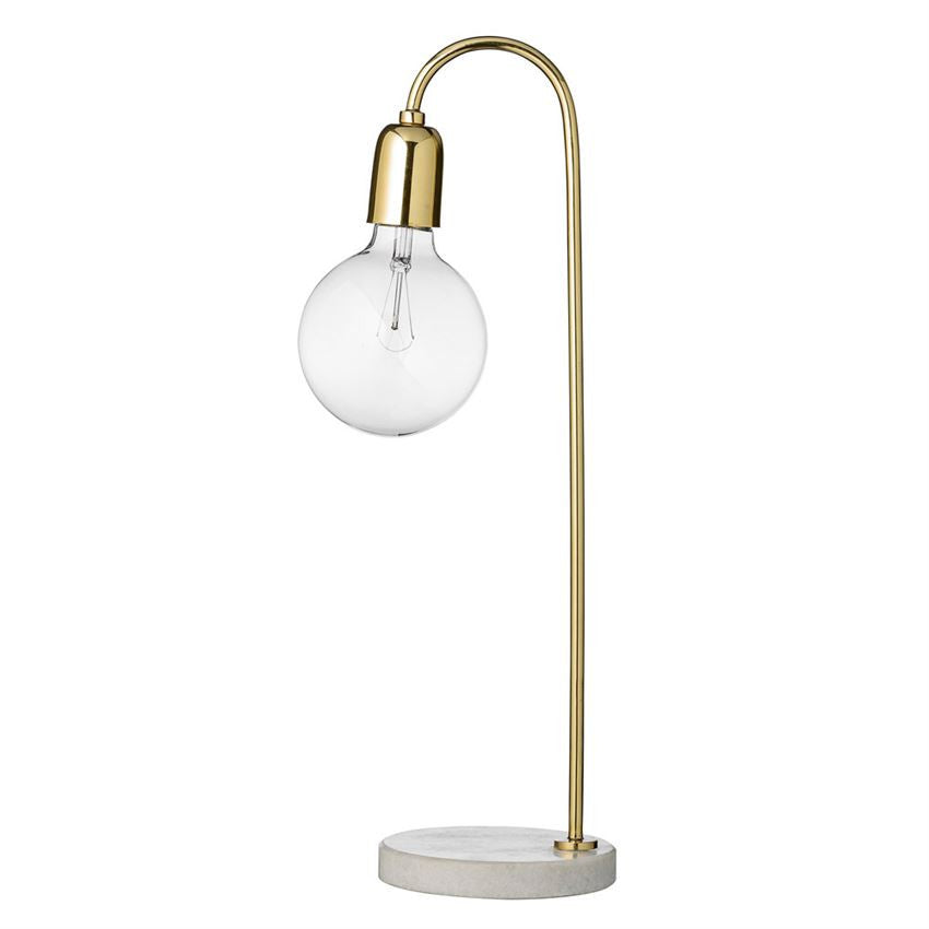 Gold Table Lamp with Marble Base