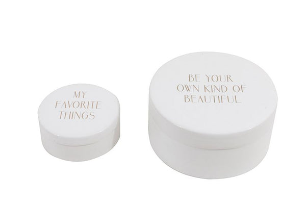 Ceramic Boxes with Gold Text - Set of 2