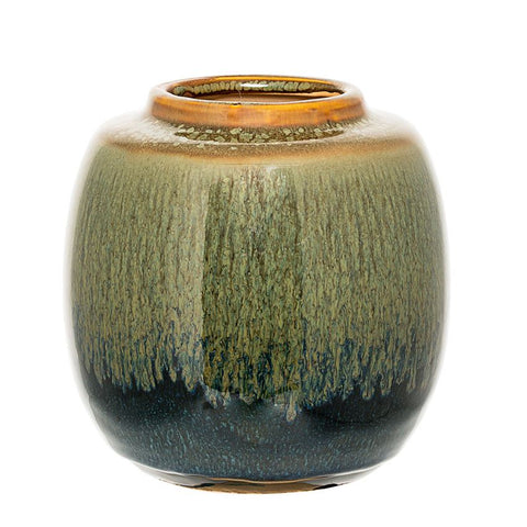 Stoneware Vase- Green/Blue