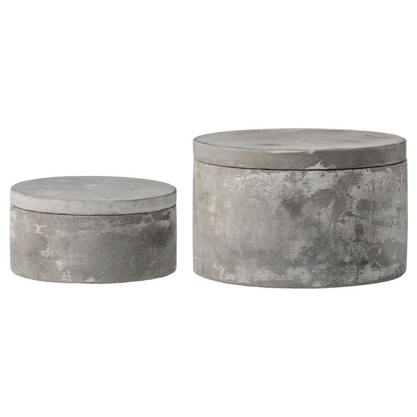 Cement Boxes with Lids- Set of 2