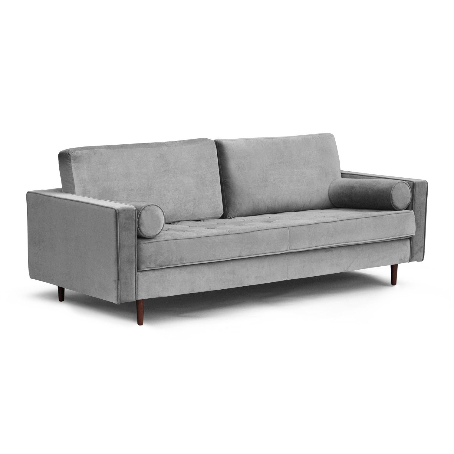 Mid Century Modern Tufted Sofa with Bolster Pillows | Mod House