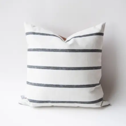 Black Stripe and Leather Pillow with Fill