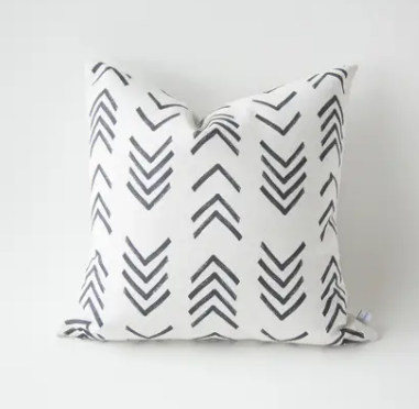 Black and Ivory Arrow Mudcloth Pillow Cover