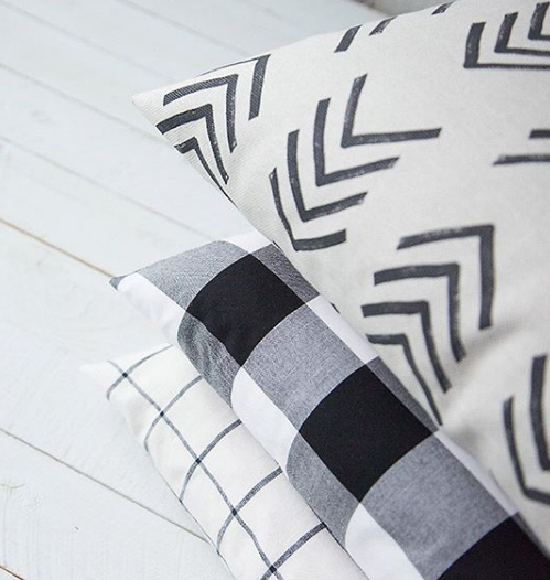 Black and Ivory Arrow Mudcloth Pillow with Fill