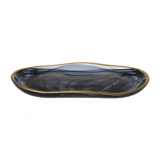 Black Alabaster Oval Tray