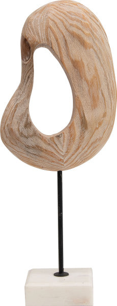 wood sculpture on marble stand