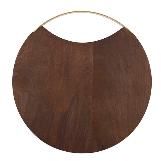 Circle Wood and Brass Board 12""