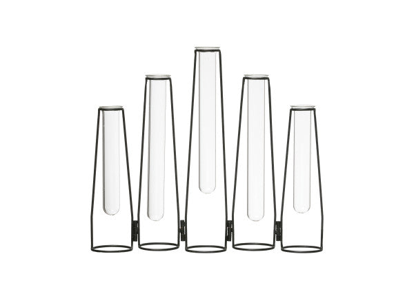 Tube Vases with Foldable Black Metal Frame