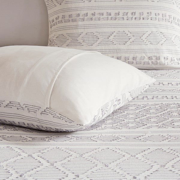 5 Piece Cotton Clip Jacquard Comforter Set