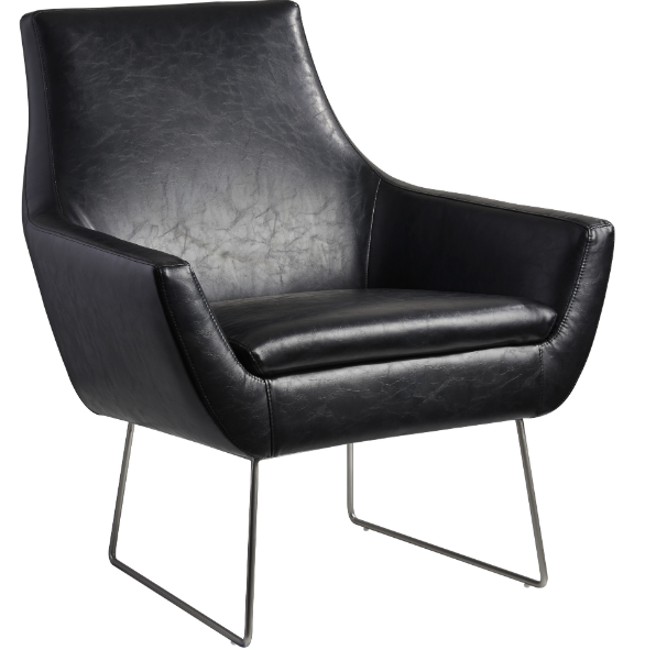 Leather Wire Leg Arm Chair