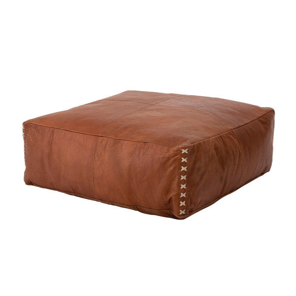 Tobacco Brown Leather Pouf with Off-White Stitch Detail