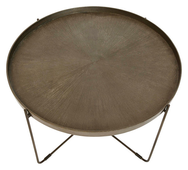 Round Metal Table with Engraved Tray-Style Top