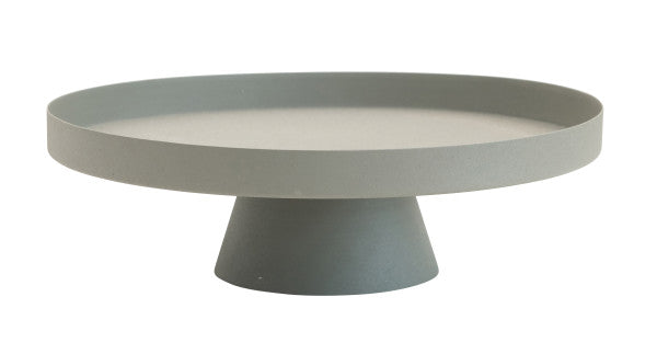 Round Matte Textured Metal Tray with Pedestal Base